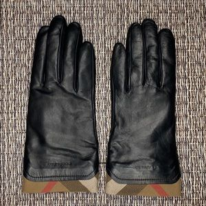 Burberry Black Leather Gloves Size 7